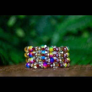 Rondelle bead wire wrap bracelet